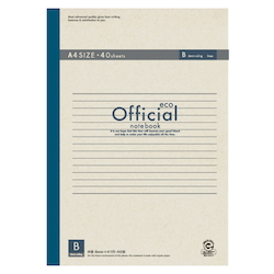 Official Eco Notebook A4 B Rule 40 Sheets