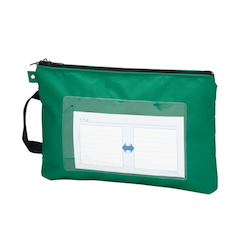 Mail Bag, W Fastener without Gusset, Green Standard: A4 Size, Outer Dimension: Vertical 260 x Horizontal 370 mm
