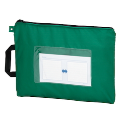 Mail Bag, W Fastener without Gusset, Green Standard: B4 Size, Outer Dimension: Vertical 340 x Horizontal 440 mm