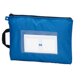 Mail Bag, W Fastener without Gusset, Blue Standard: B4 Size, Outer Dimension: Vertical 340 x Horizontal 440 mm