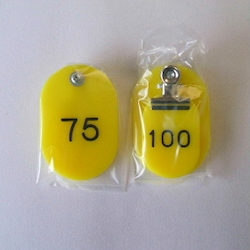 Parent/Child Tags, Continuous Numbers 51-100 Yellow