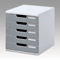 Office Set System II 5 Tray, Stone Gray