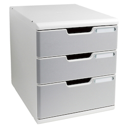 Office Set System II 3 Tray, Stone Gray