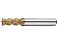 AS Coated High-Speed Steel Square End Mill, 4-Flute / Short