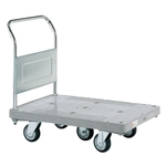 Plastic Hand Truck, 5-wheel, Standard Casters, Fixed Handle