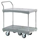 Plastic Hand Truck, 5-wheel, Standard Casters, 2-level Single-handle
