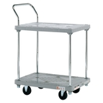 Plastic Hand Truck, Silent Casters, 2-Level Single-Sleeve
