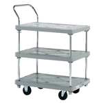 Plastic Hand Truck, Standard Casters, 3-level Single-handle