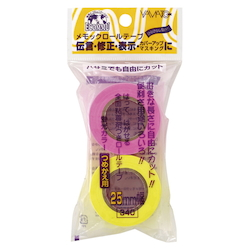 Memoc Roll Tape Fluorescent Colors, Refill, Rose/Lemon