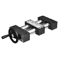 Double tube linear actuators, single slider