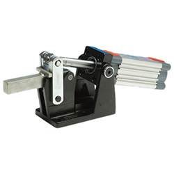 Heavy-duty pneumatic toggle clamps with horizontal mounting base, with magnetic