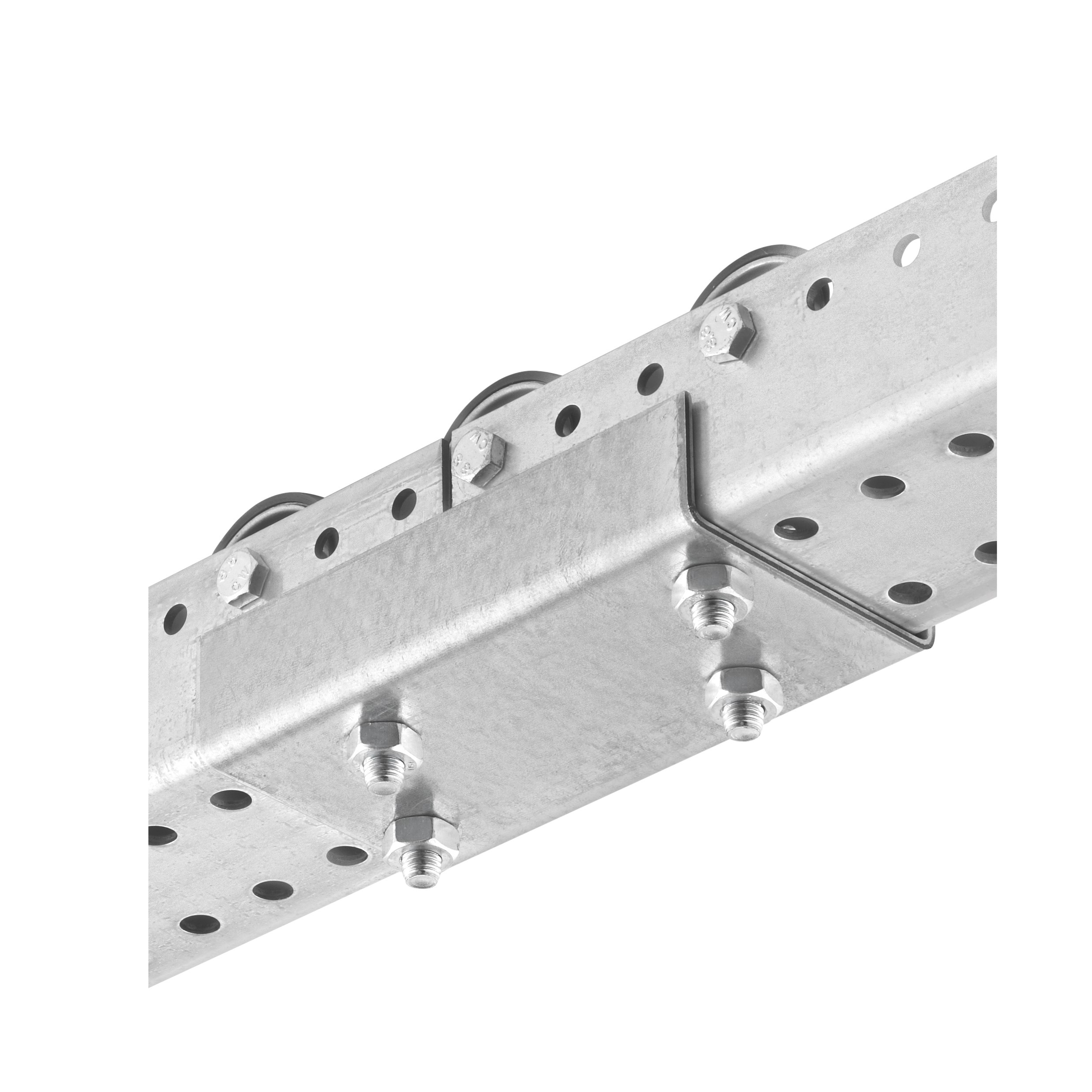U-connector with screws for pallet roller rail