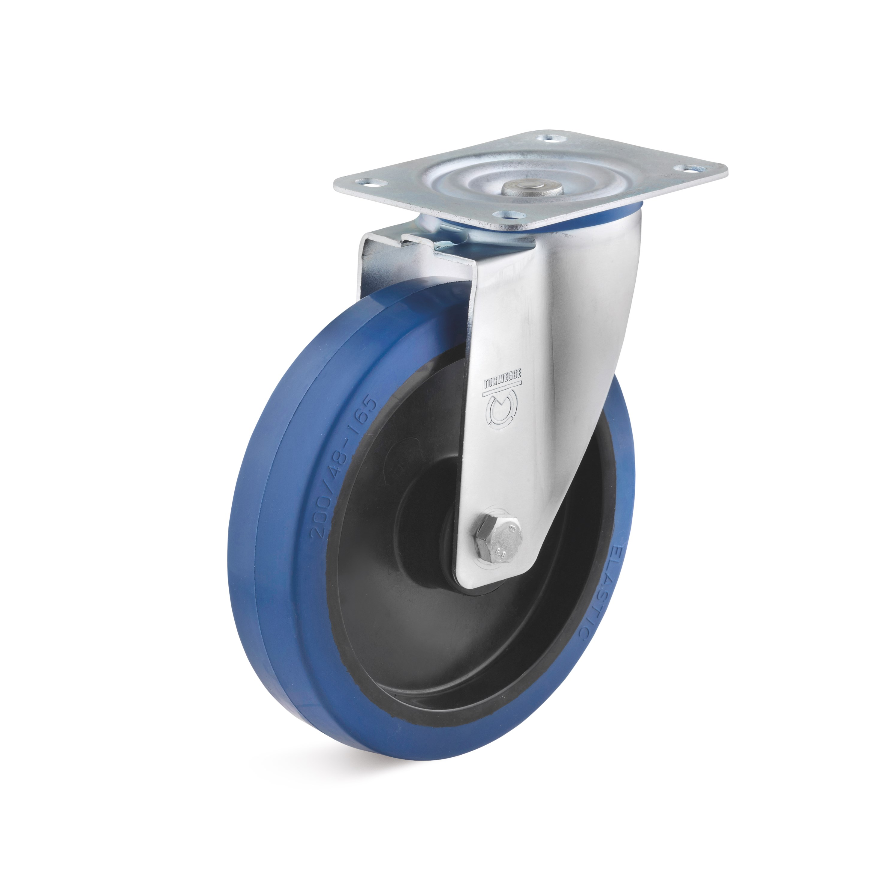 Swivel castor with blue elastic solid rubber wheel