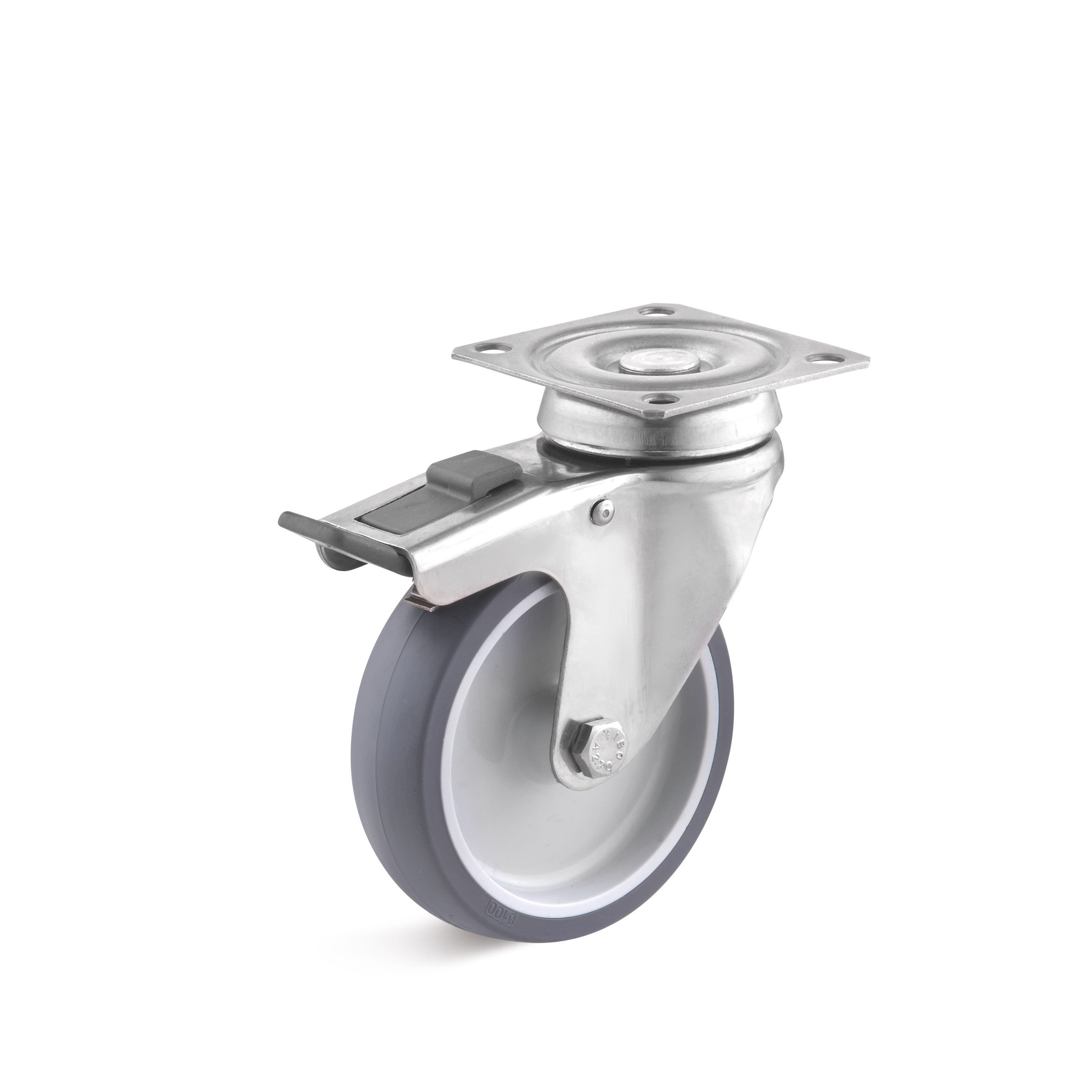 Stainless steel swivel castor with double stop and thermoplastic wheel