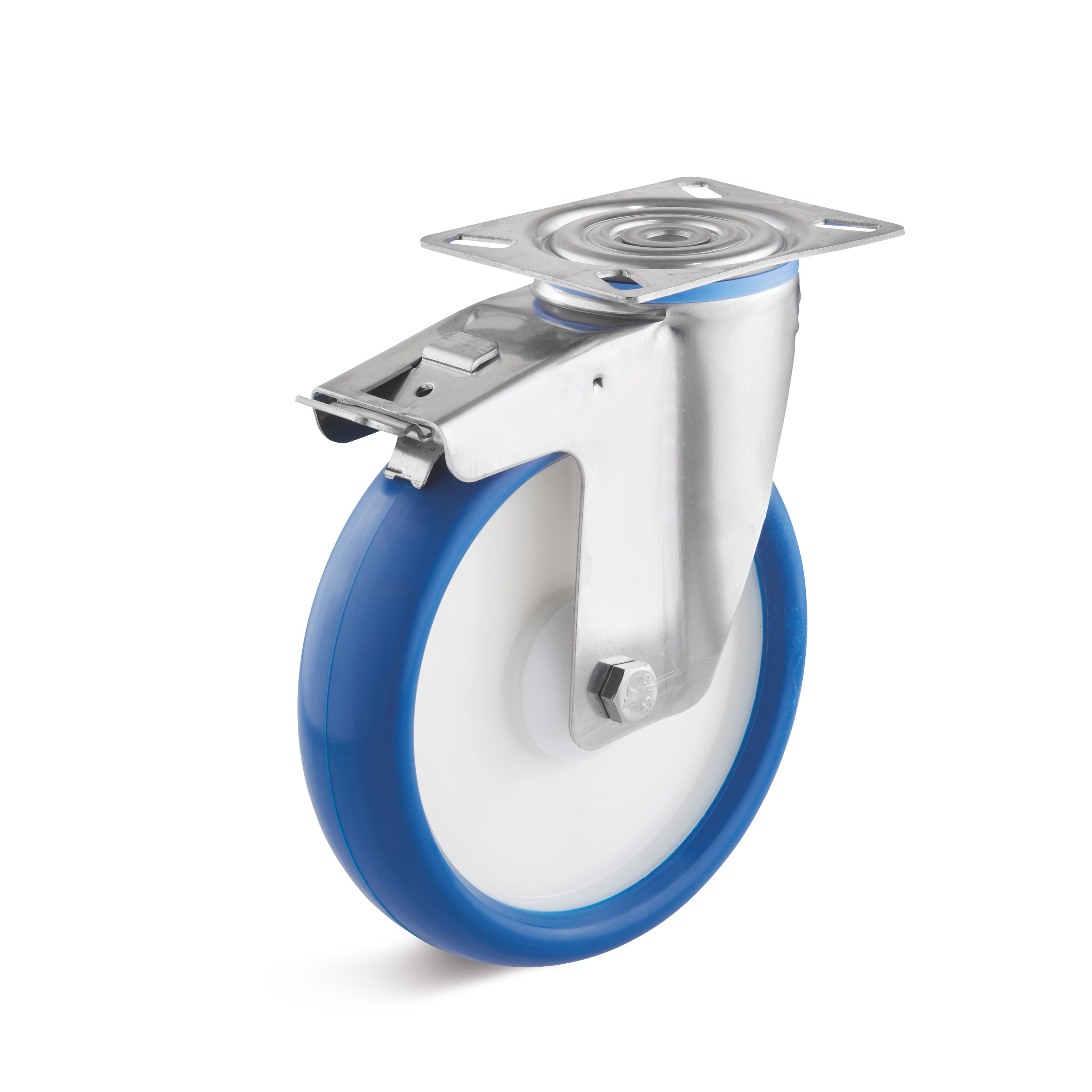 Stainless steel swivel castor with double stop and polyurethane wheel