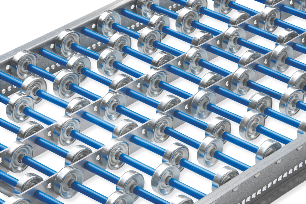 Roller conveyor with steel rollers