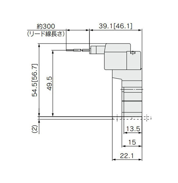 M plug connector (M): SYJ3120-□M□□-M3(-F) dimensional drawing